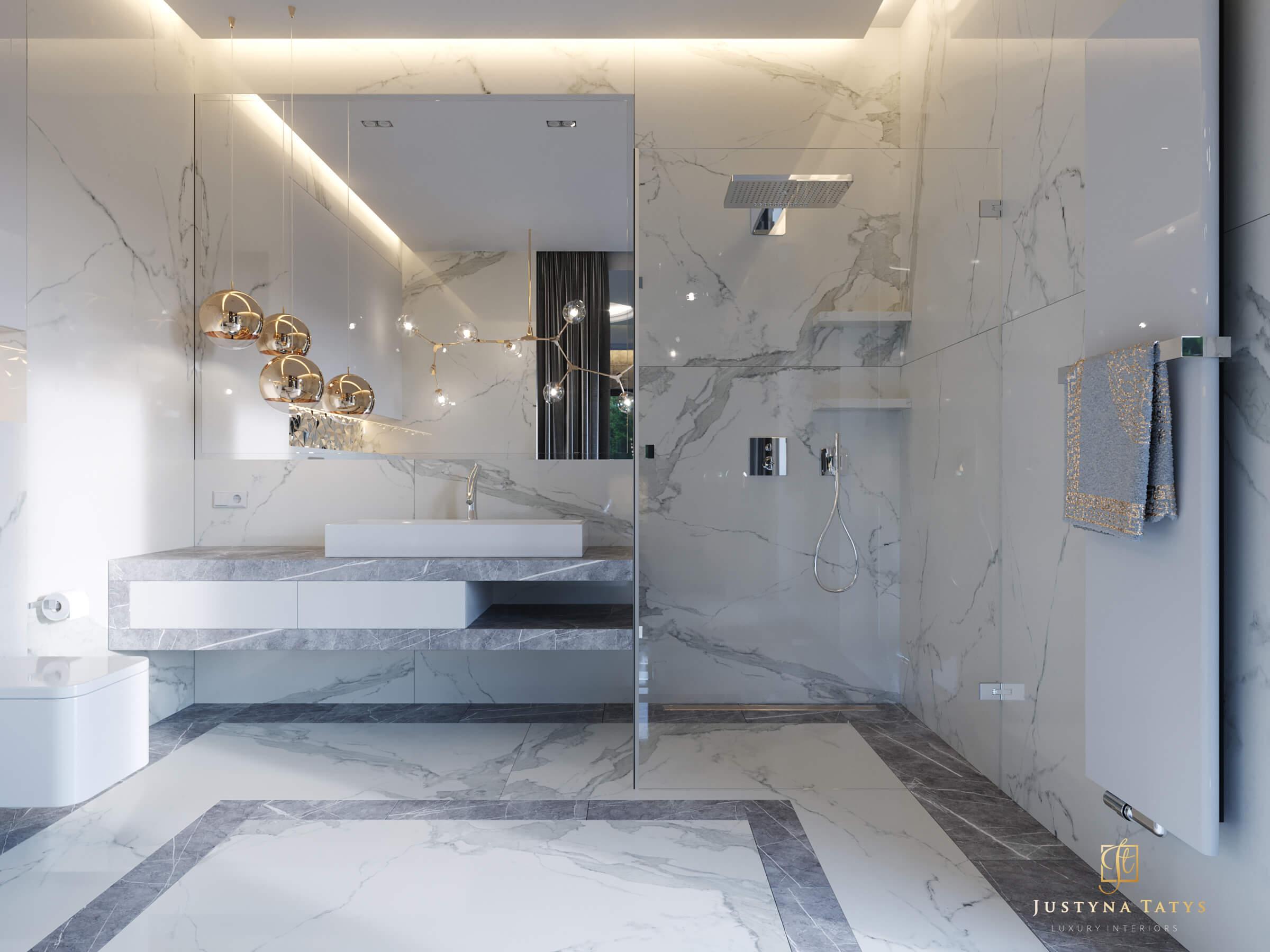 łazienka Z Marmuru Luksusowe łazienki Projekt Justyny Tatys